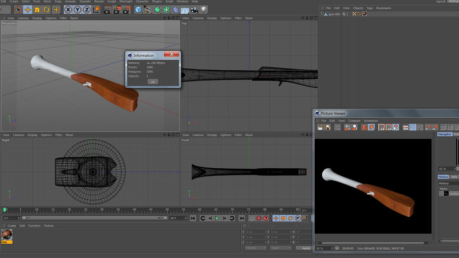 gun rifle royalty-free 3d model - Preview no. 12