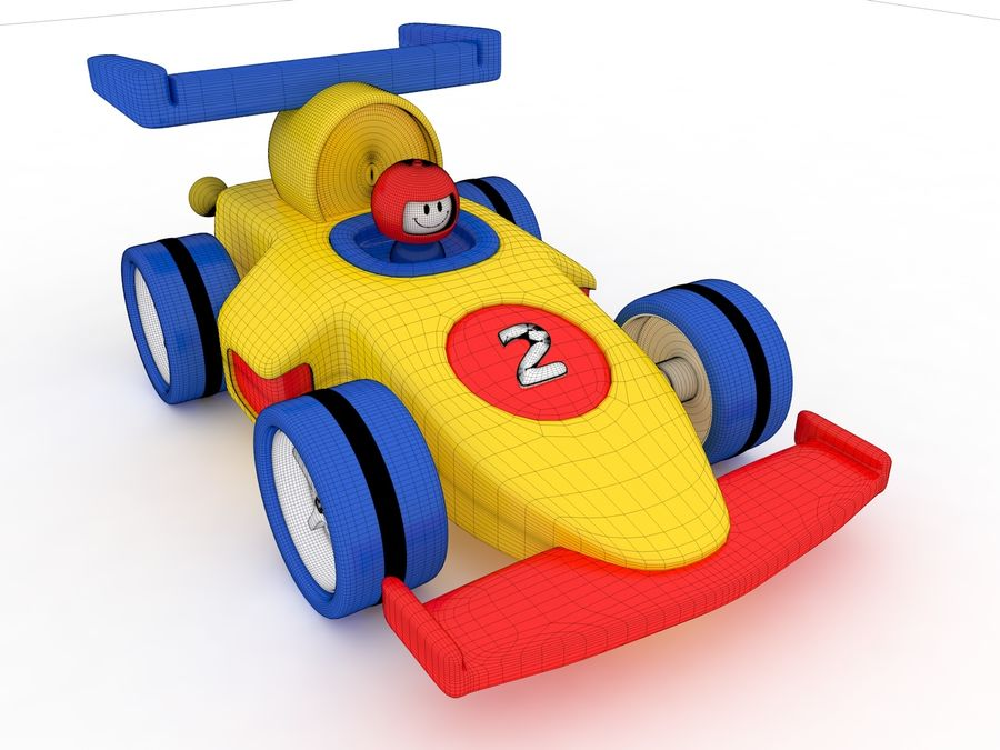 Cartoon Formula 1 Car royalty-free 3d model - Preview no. 8