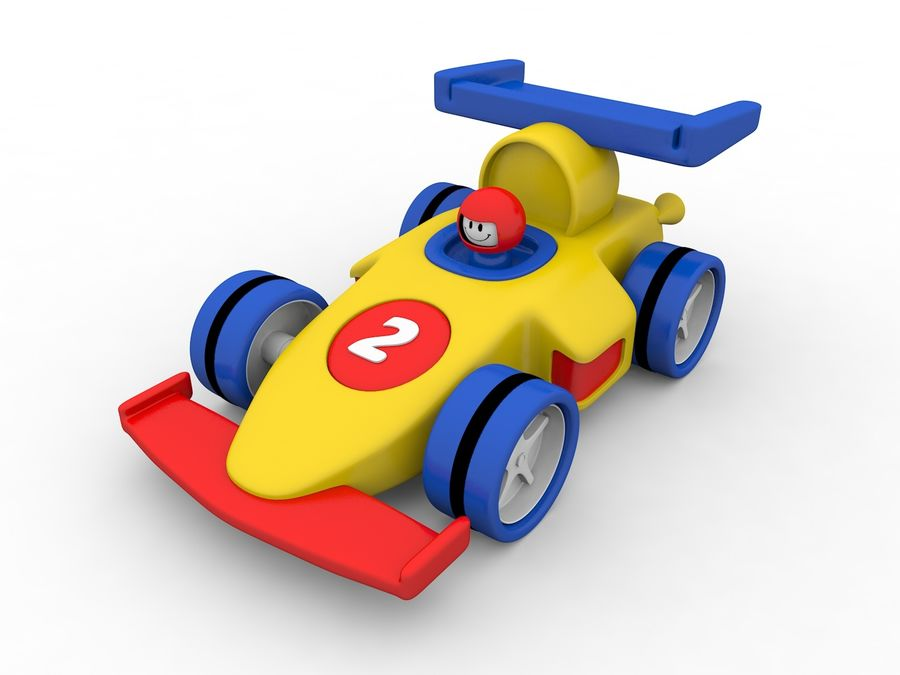 Cartoon Formula 1 Car royalty-free 3d model - Preview no. 2