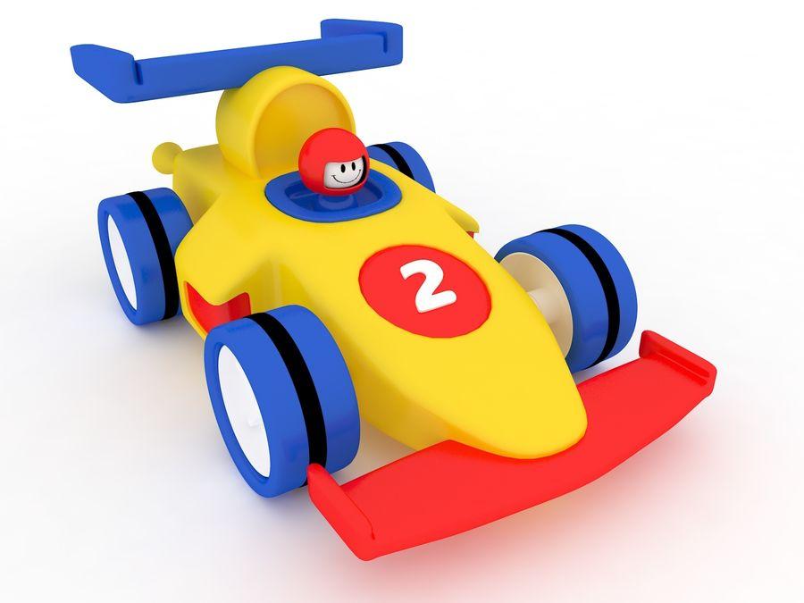 Cartoon Formula 1 Car royalty-free 3d model - Preview no. 9
