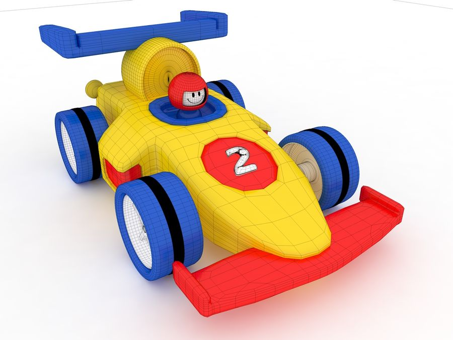 Cartoon Formula 1 Car royalty-free 3d model - Preview no. 7