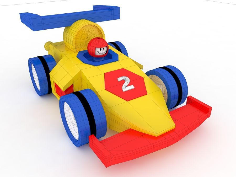 Cartoon Formula 1 Car royalty-free 3d model - Preview no. 6