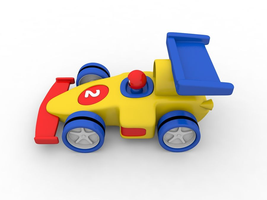 Cartoon Formula 1 Car royalty-free 3d model - Preview no. 3