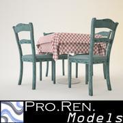 Stół i krzesła restauracyjne 3d model