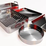 Metal dishes set 3d model