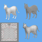cat 1a 3D model low poly 3d model