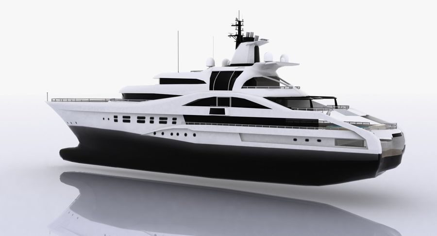 Palladium Yacht Low Poly royalty-free 3d model - Preview no. 4
