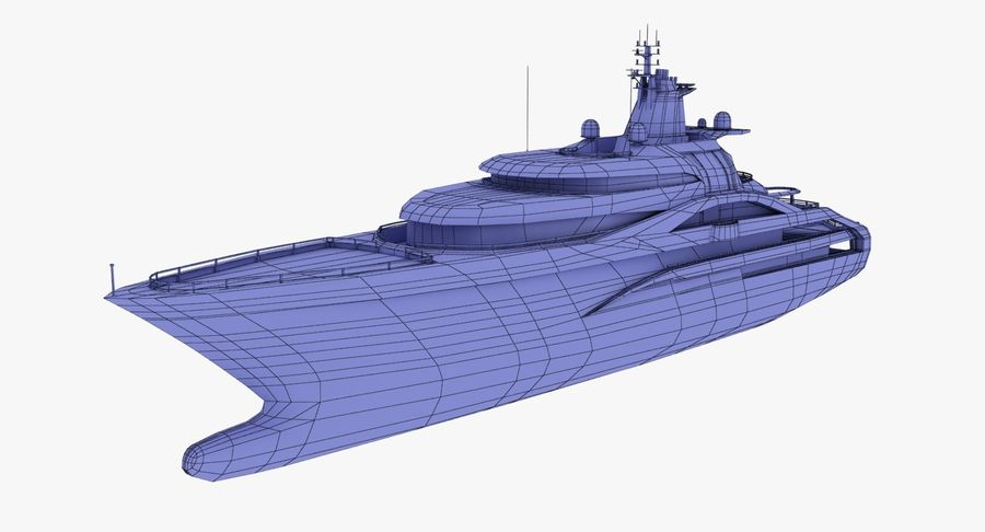 Palladium Yacht Low Poly royalty-free 3d model - Preview no. 14