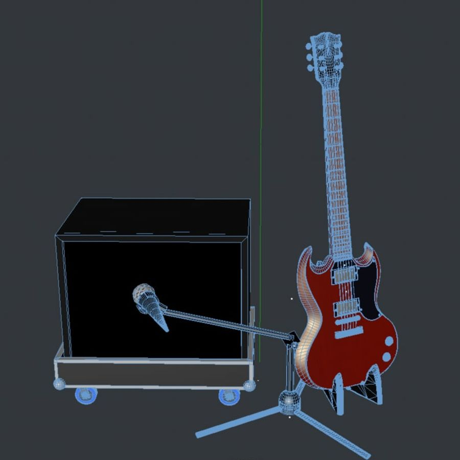 Гитара и усилитель royalty-free 3d model - Preview no. 5