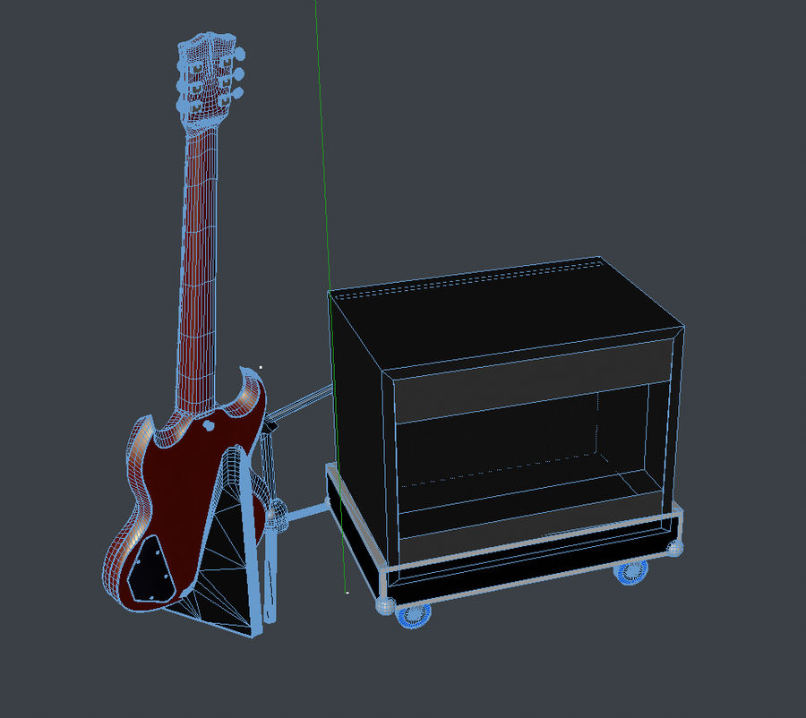 Гитара и усилитель royalty-free 3d model - Preview no. 7