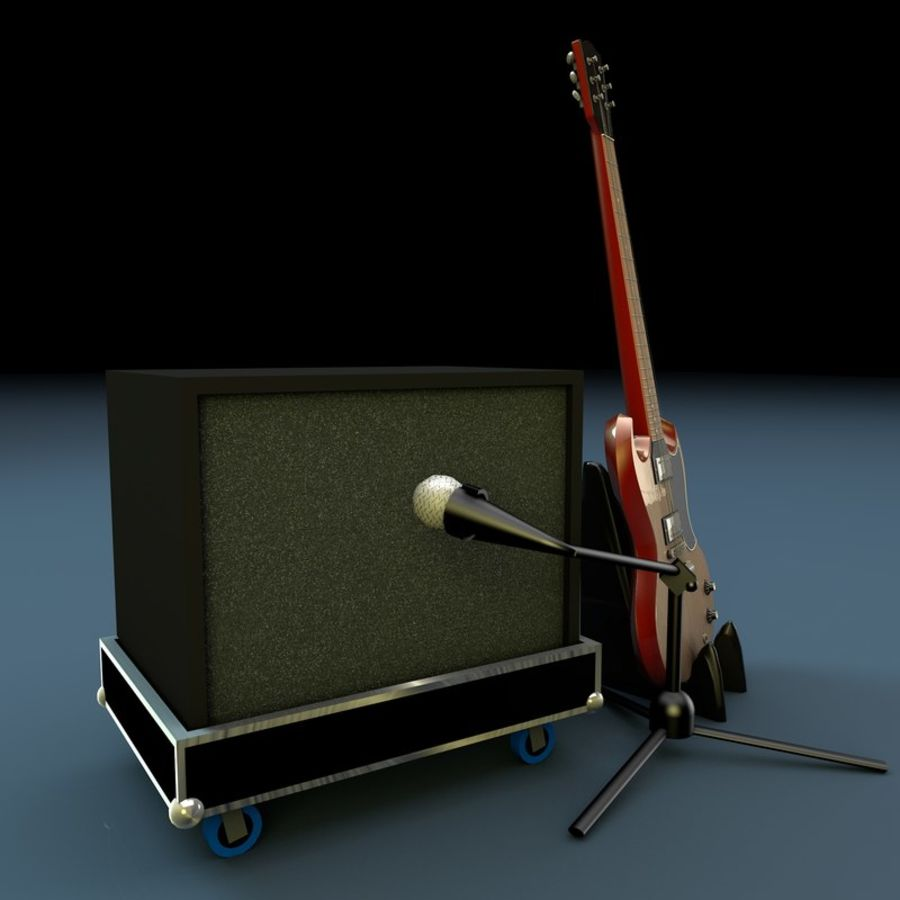 Гитара и усилитель royalty-free 3d model - Preview no. 2