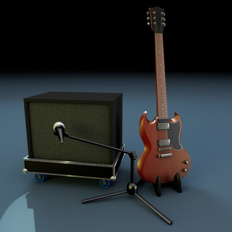 Гитара и усилитель royalty-free 3d model - Preview no. 1