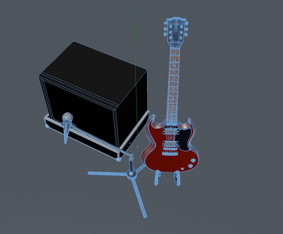 Гитара и усилитель royalty-free 3d model - Preview no. 8