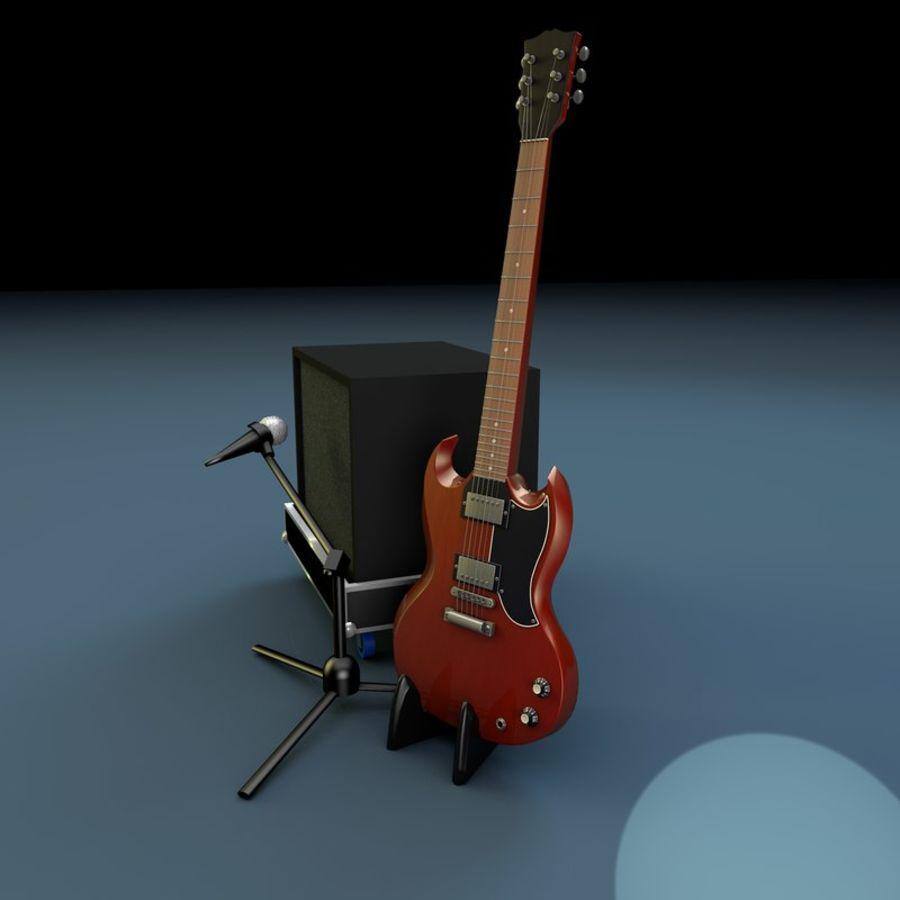 Гитара и усилитель royalty-free 3d model - Preview no. 3
