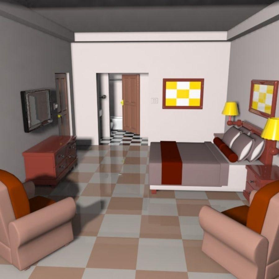 Çizgi Film Otel Odası royalty-free 3d model - Preview no. 2