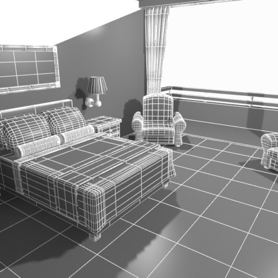 Çizgi Film Otel Odası royalty-free 3d model - Preview no. 15