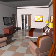 Cartoon Hotel Room 3d model