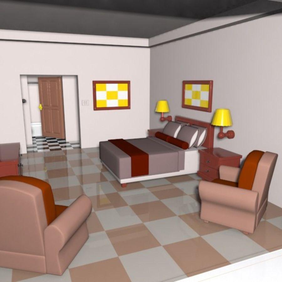 Çizgi Film Otel Odası royalty-free 3d model - Preview no. 4