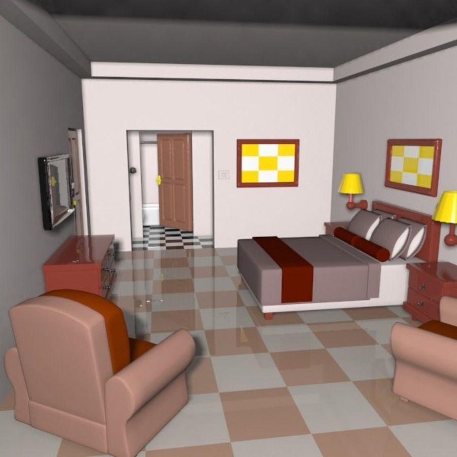 Çizgi Film Otel Odası royalty-free 3d model - Preview no. 3