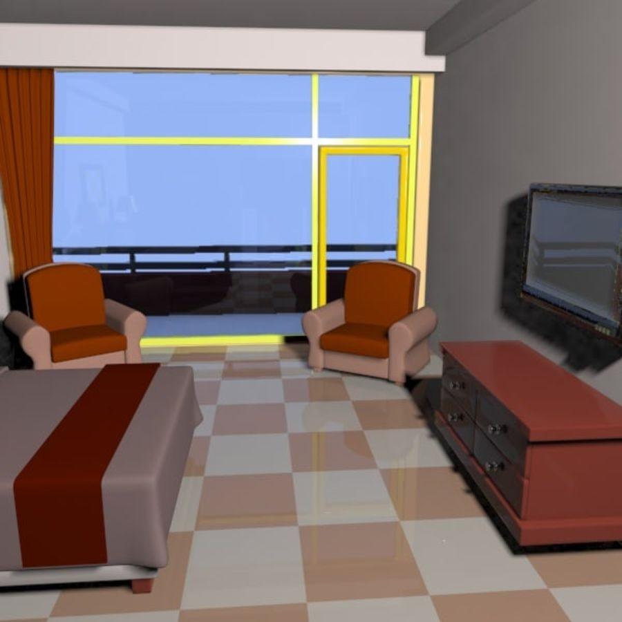 Çizgi Film Otel Odası royalty-free 3d model - Preview no. 7