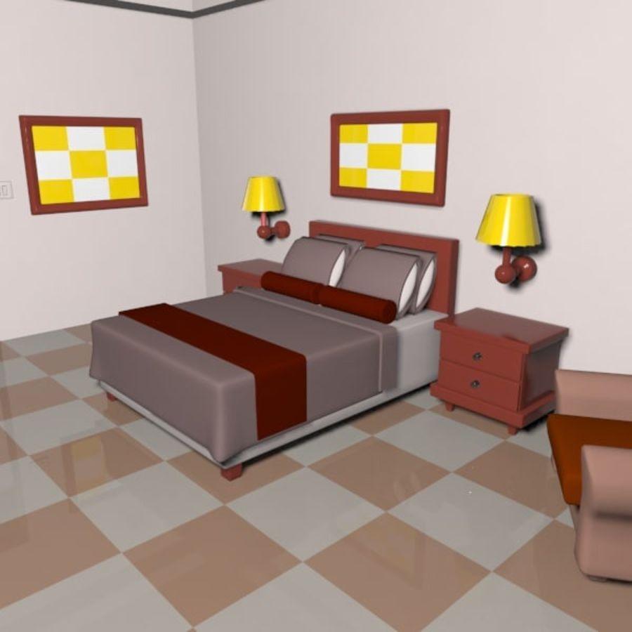Çizgi Film Otel Odası royalty-free 3d model - Preview no. 9