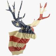 Cardboard Deer Head Flag 3d model