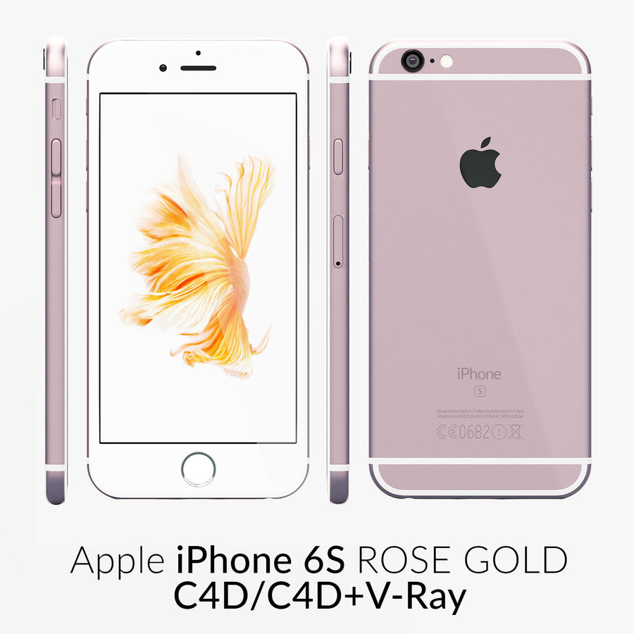iPhone 6S Rose Gold C4D (2) royalty-free modelo 3d - Preview no. 1