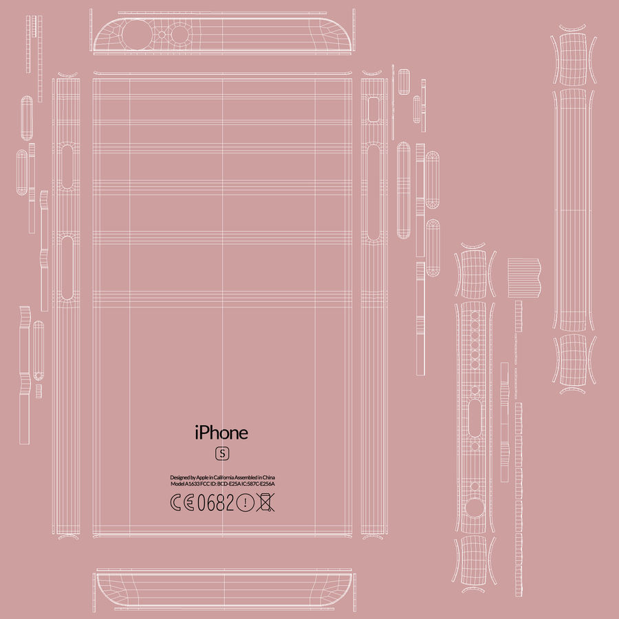 iPhone 6S Rose Gold FBX OBJ royalty-free modelo 3d - Preview no. 25