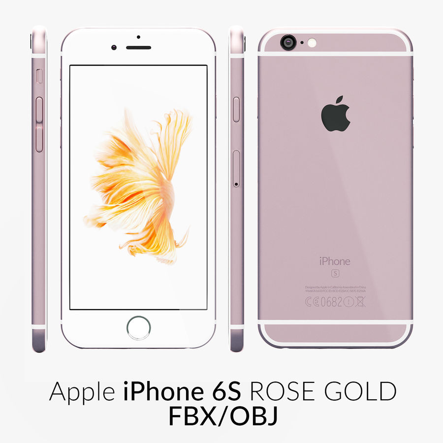 iPhone 6S Rose Gold FBX OBJ royalty-free 3d model - Preview no. 1