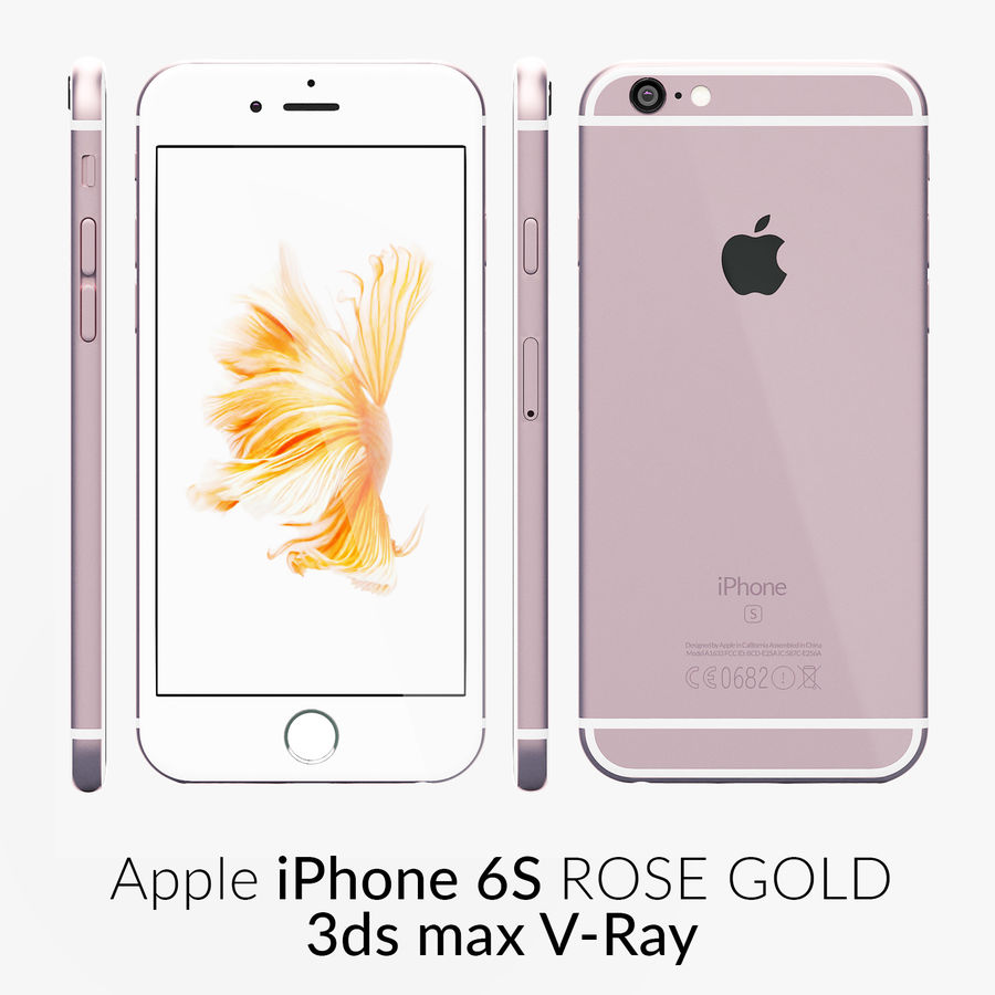 iPhone 6S Rose Gold V-Ray royalty-free 3d model - Preview no. 1