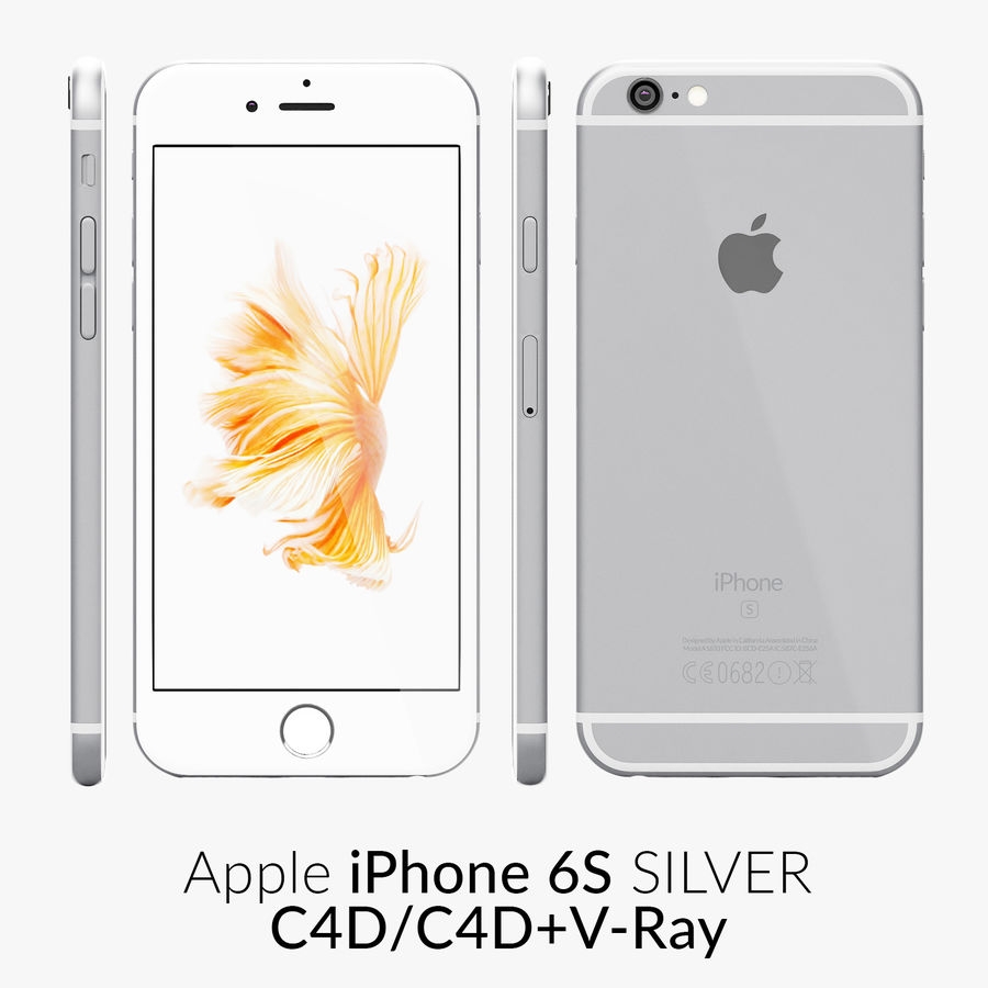 iPhone 6S Silver C4D royalty-free 3d model - Preview no. 1