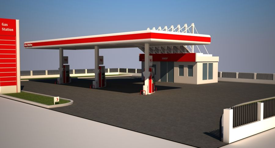 Gas Station royalty-free 3d model - Preview no. 6