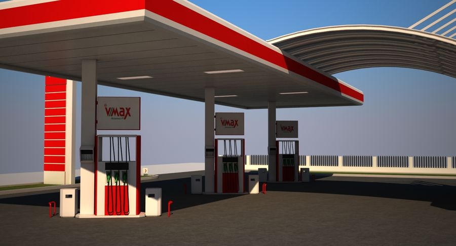 Gas Station royalty-free 3d model - Preview no. 7