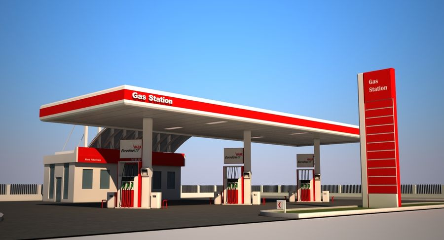 Gas Station royalty-free 3d model - Preview no. 2