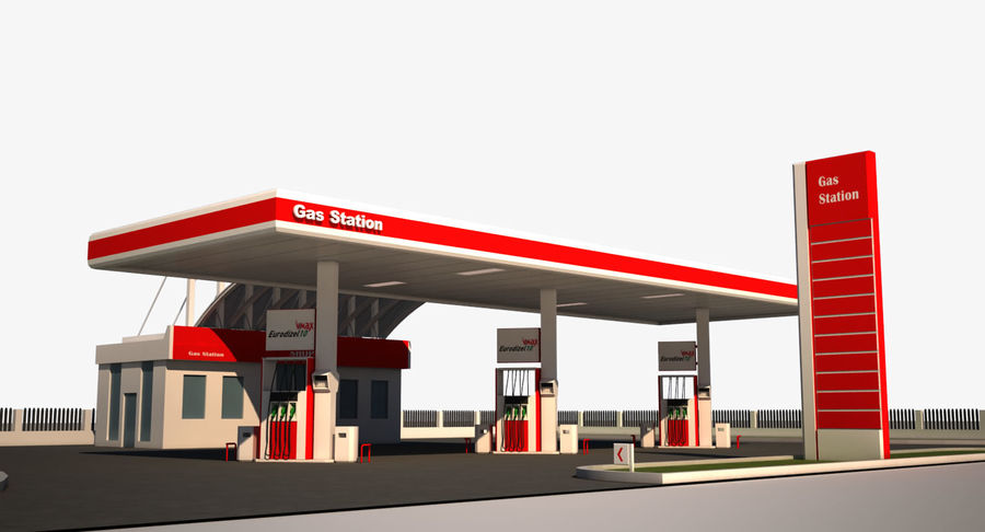 Gas Station royalty-free 3d model - Preview no. 1