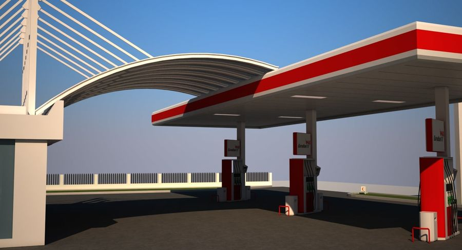 Gas Station royalty-free 3d model - Preview no. 8