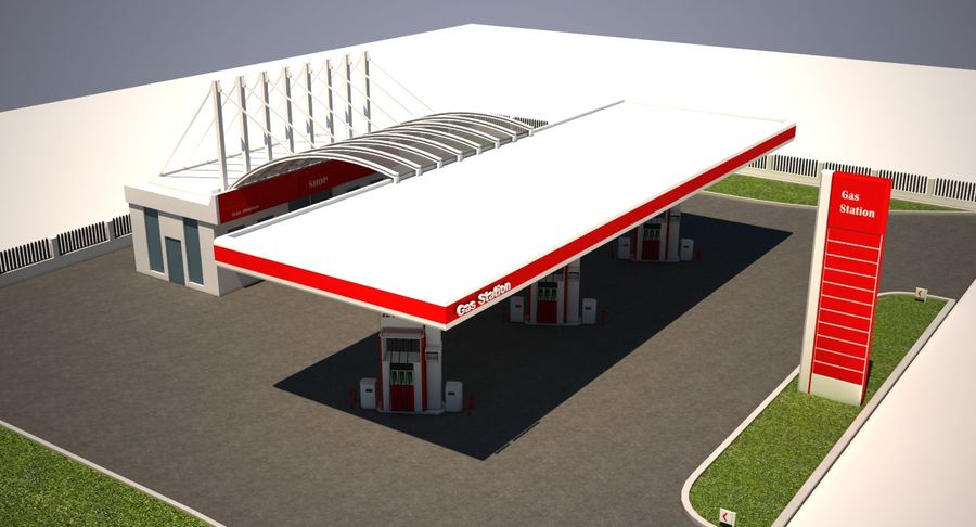 Gas Station royalty-free 3d model - Preview no. 11