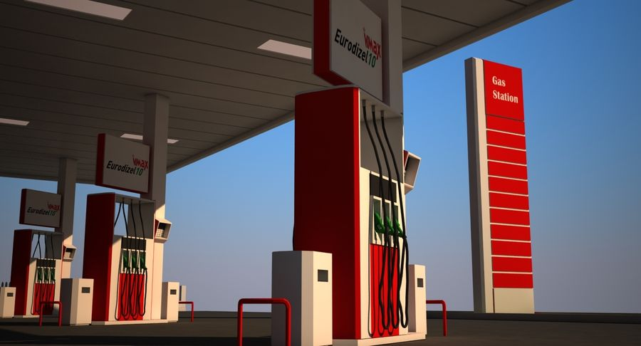 Gas Station royalty-free 3d model - Preview no. 9