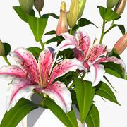 różowy bukiet lilii 3d model