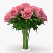 roses_pink bouquet 3d model