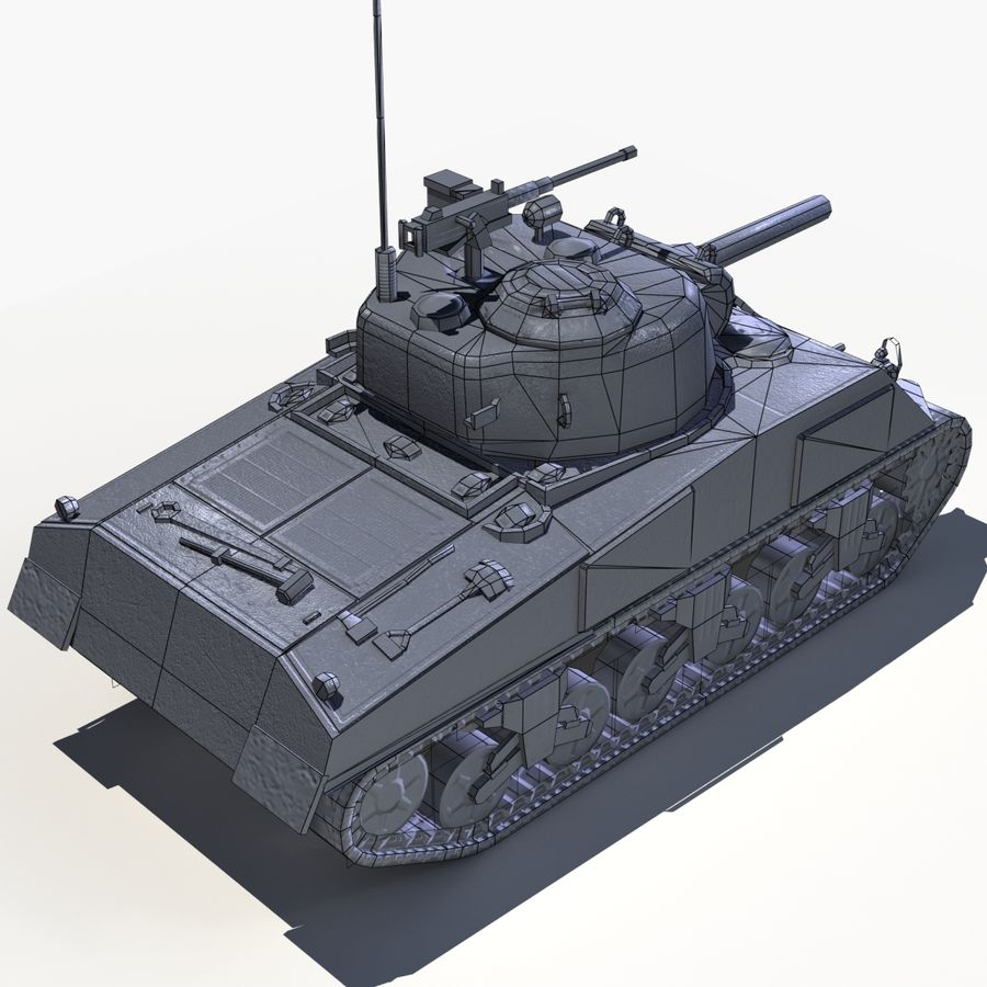 Sherman Tank - Basse Poly royalty-free 3d model - Preview no. 5