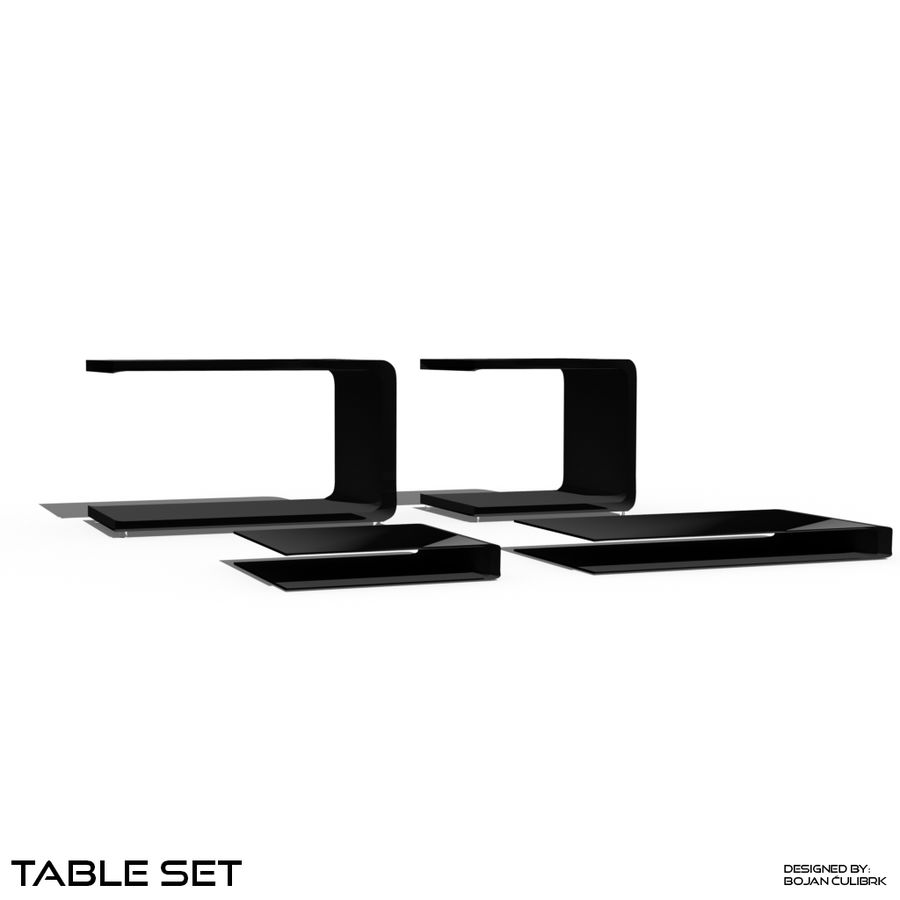Cube Table Set Collection 2 royalty-free 3d model - Preview no. 4