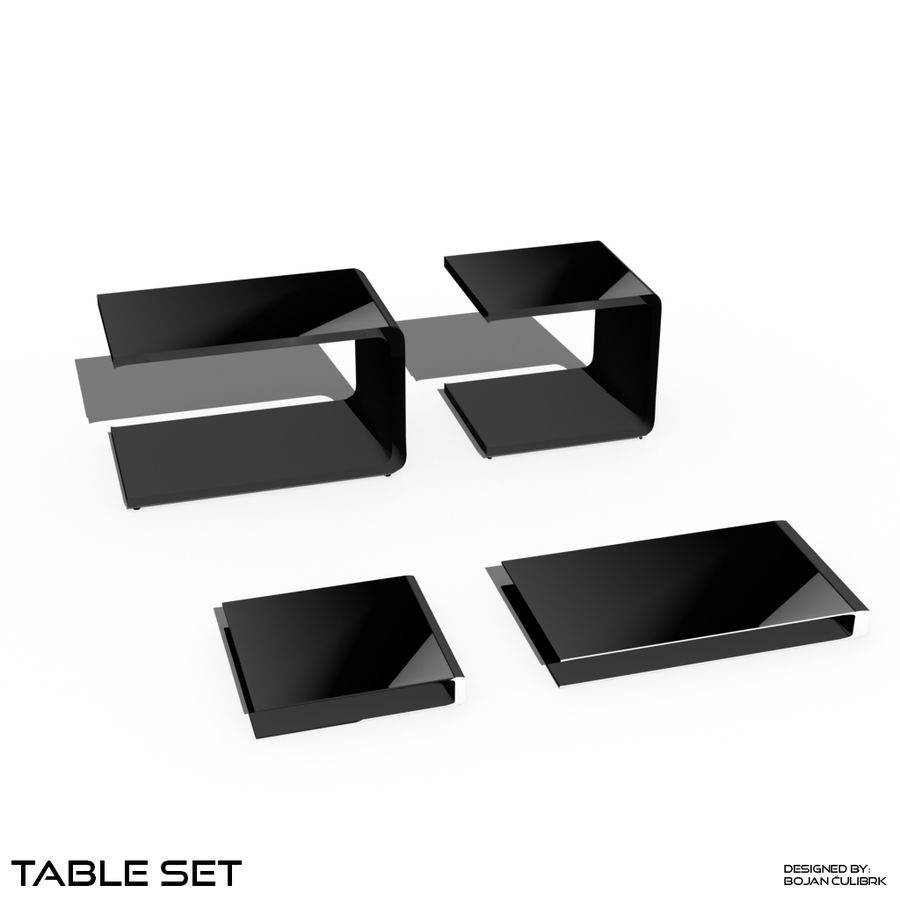 Cube Table Set Collection 2 royalty-free 3d model - Preview no. 1