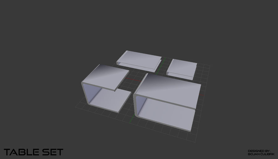Cube Table Set Collection 2 royalty-free 3d model - Preview no. 6