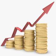 Seta de tendência com moeda 3d model