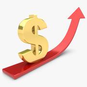 Seta de tendência com dólar 3d model