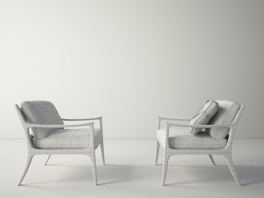 Custom Design Armchair royalty-free 3d model - Preview no. 6
