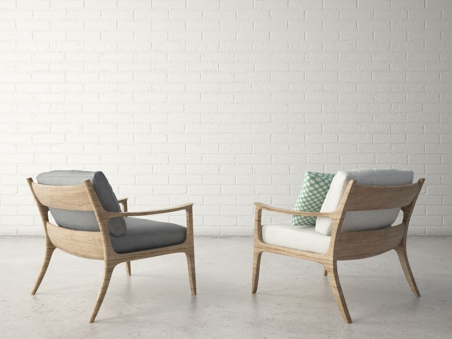 Custom Design Armchair royalty-free 3d model - Preview no. 3
