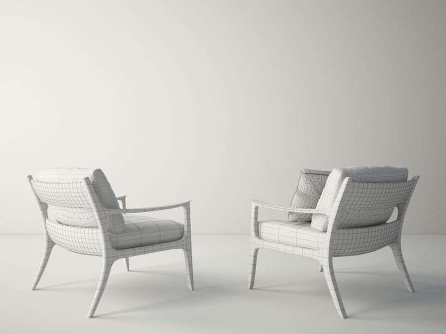 Custom Design Armchair royalty-free 3d model - Preview no. 7