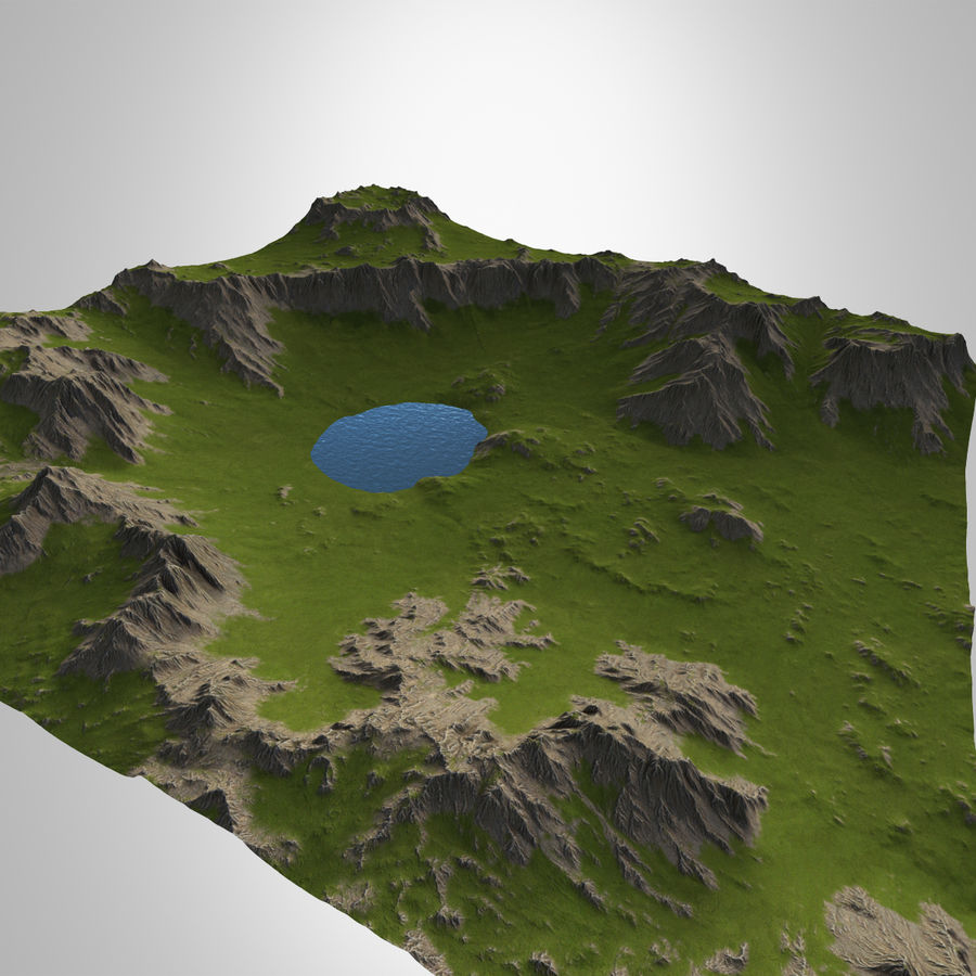 Berglandschap royalty-free 3d model - Preview no. 2